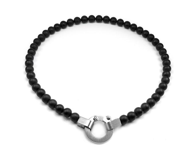 Obsidian Beads Necklace Modern Design
