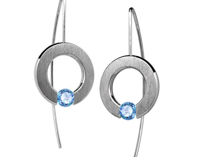 Tension Set Blue Topaz Drop Earrings in Stainless Steel by Taormina Jewelry