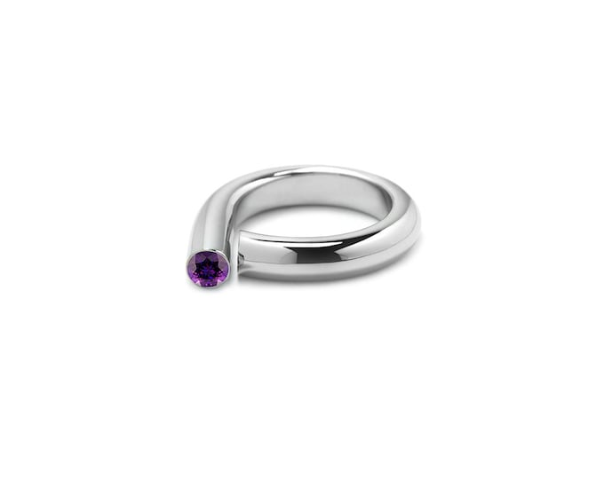 Modern Amethyst Pinky Ring in Stainless Steel