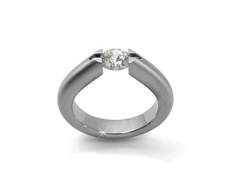 White Sapphire Tension Setting Engagement Ring in Stainless Steel
