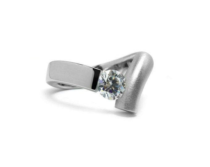 Unique White Sapphire Tension Set Ring in Two Tone Stainless Steel