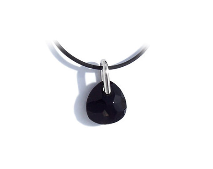 Black Onyx Creole Murano Sliding Glass Pendant