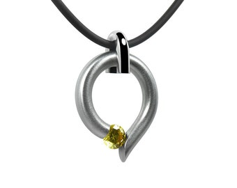 Yellow Topaz Tension Set Teardrop Shaped Pendant in Stainless Steel