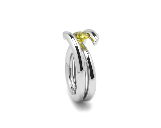 1ct, 1.5ct, 2ct Yellow Sapphire High Tension Ring in Stainless Steel