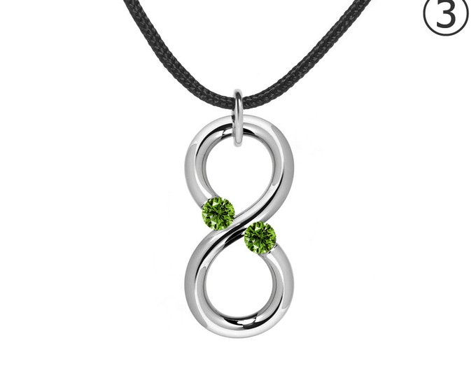 Two Gemstones Infinity Necklace with Peridot in Steel Stainless