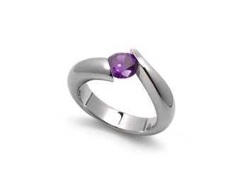 Amethyst Tension Set Ring in Two Tone Stainless Steel