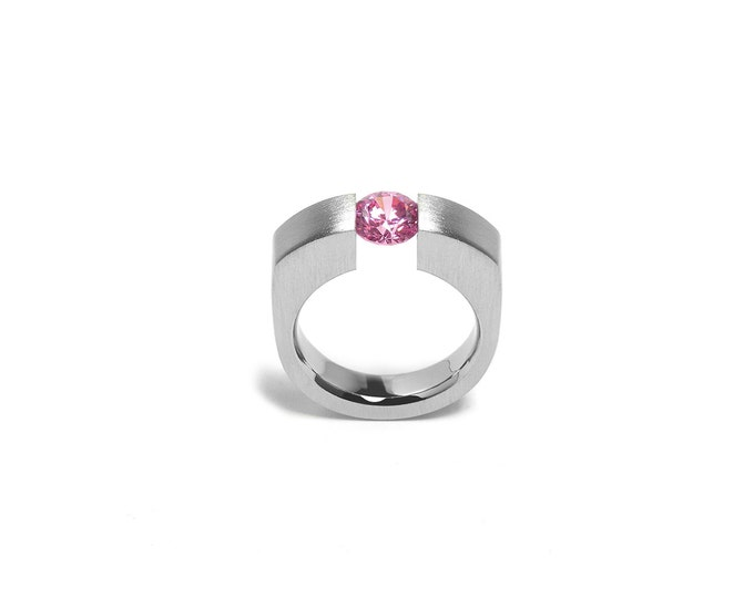 Modern Pink Sapphire Engagement Ring Tension Set Steel