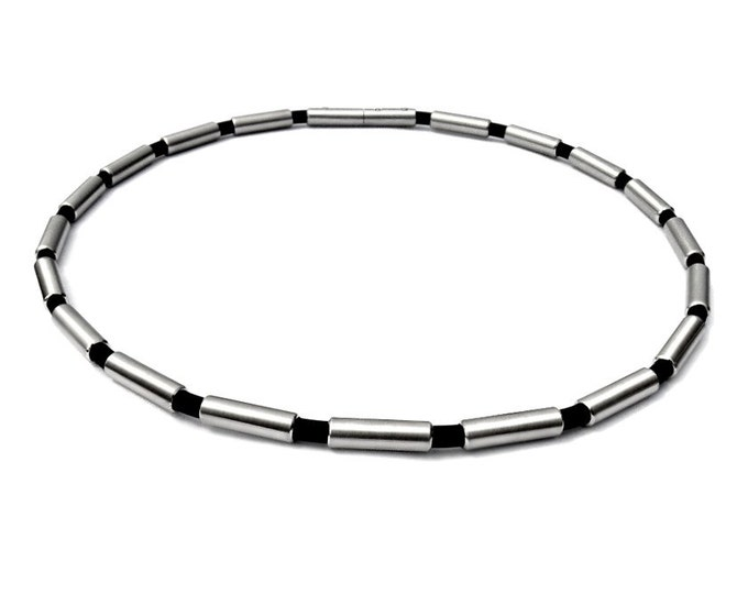 Rubber and Stainless Steel Tubes Elements Cylinders Necklace