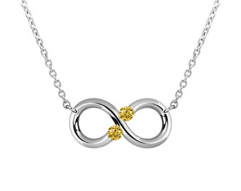 Taormina Infinity Necklace Yellow Sapphire Topaz Tension Set Steel Stainless