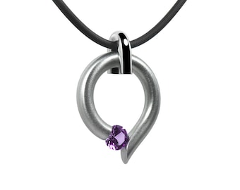 Two Tone Amethyst Tension Set Teardrop Shaped Necklace in Stainless Steel