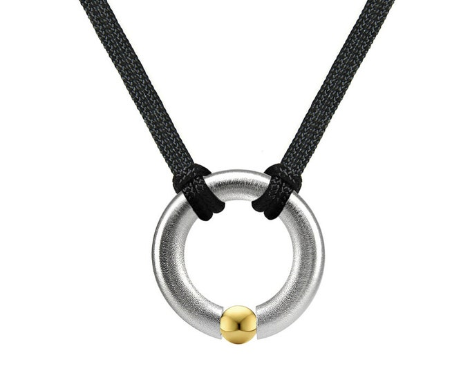Tension Set Round Men's Necklace with Gold sphere in Stainless Steel by Taormina Jewelry