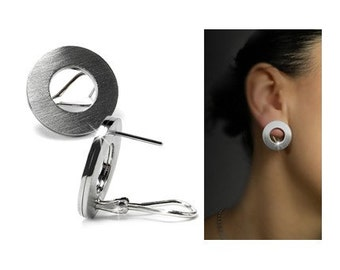 Modern Clip on Circle Earrings in Stainless Steel