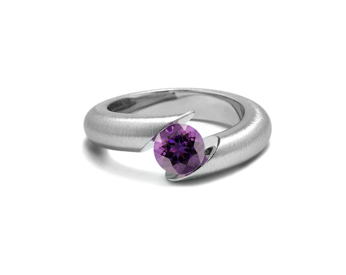Amethyst Ring Tension Set Tapered Stainless Steel Mounting