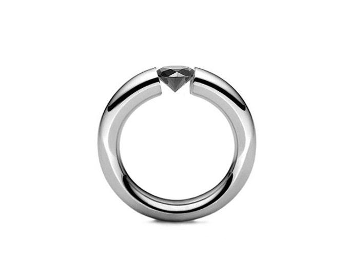 Men's Tapered Tension Set Black Diamond Ring in Stainless Steel