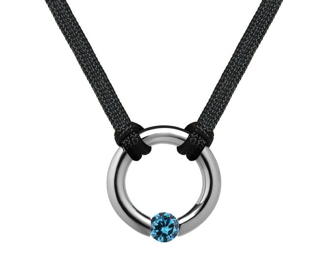 Blue Topaz Tension Set Round Men's Necklace in Stainless Steel by Taormina Jewelry