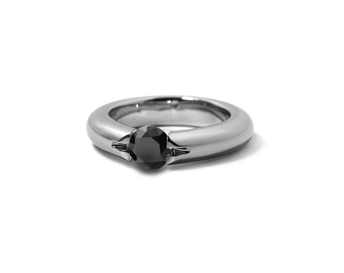 Black Diamond Ring High Tension Set in Stainless Steel