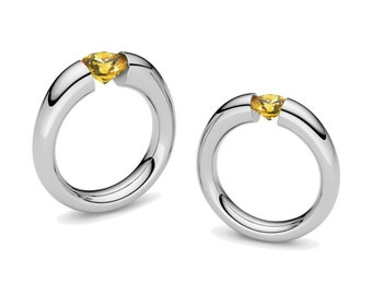 Yellow Sapphire Engagement Ring Tension Set Steel