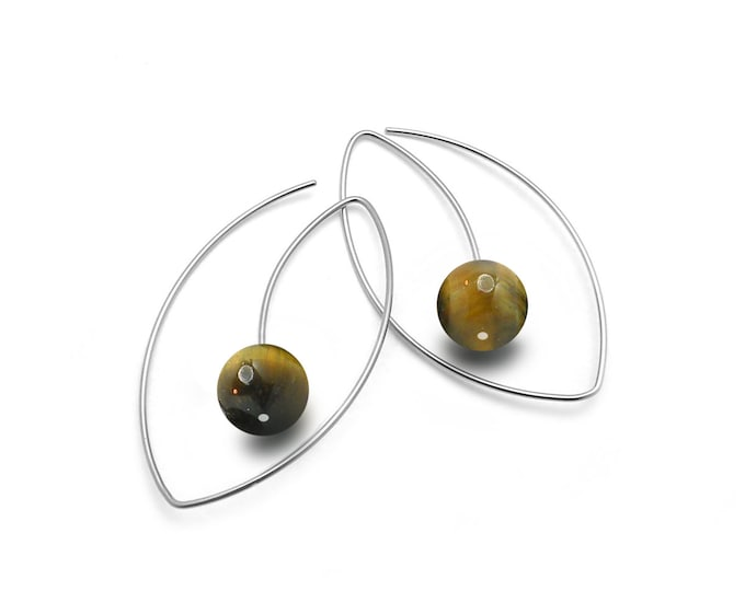 Tiger Eye Drop Oval wire Earrings in Stainless Steel by Taormina Jewelry