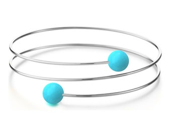 Turquoise triple wire bracelet in Stainless Steel Multi row