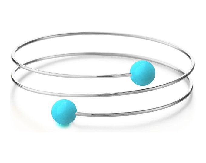 Turquoise triple wire bracelet in Stainless Steel Multi row