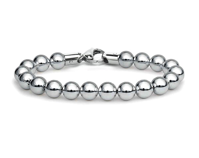 8 mm, 7 mm Stainless Steel Beads Bracelet