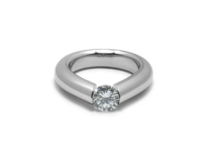 White Sapphire Engagement Tension High Setting Ring in Stainless Steel