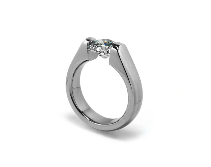 Contemporary White Sapphire Engagement Ring 1 ct and 1.5 ct and 2 ct Tension Set Steel