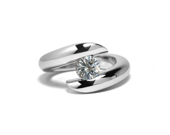 1ct White Sapphire Engagement Ring Bypass Tension Set Mounting in Stainless Steel