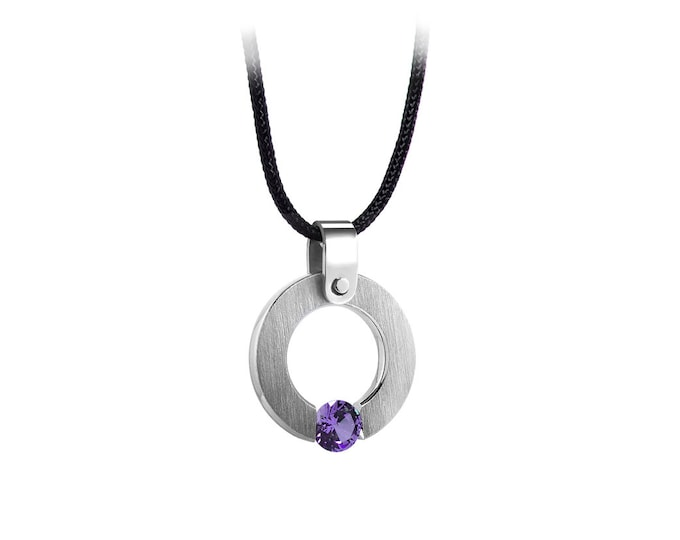 Amethyst Tension Set Round Pandant in Stainless Steel