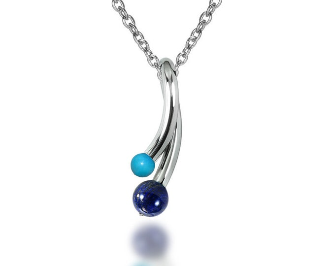 Turquoise and Lapis Lazuli Pendant in Stainless Steel