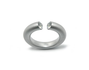 Handmade White Sapphire Statement Gemstone Ring in Steel