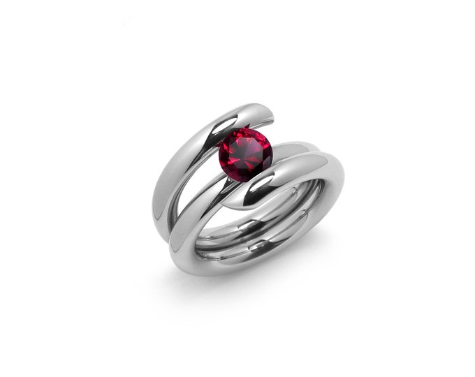1ct Garnet High Setting Bypass Tension Set Ring in Stainless Steel