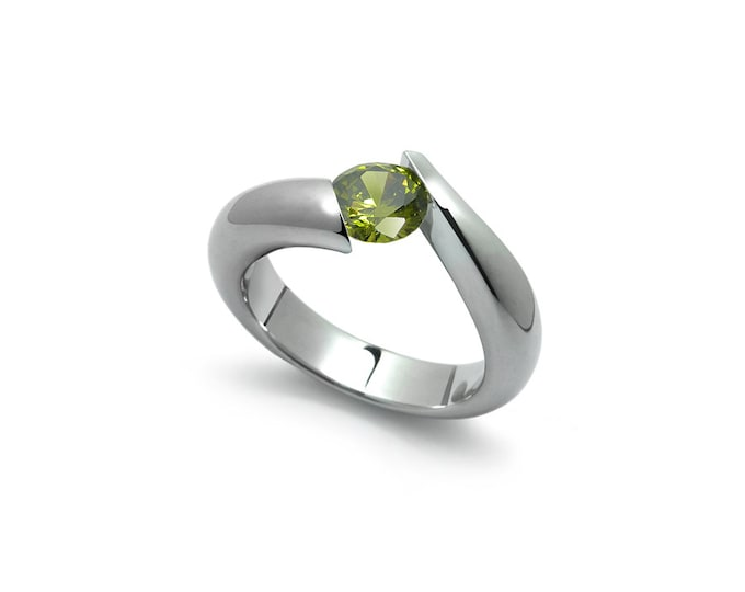 Peridot Tension Set Ring in Two Tone Stainless Steel