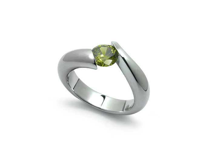 1ct Bypass Peridot Tension Set Ring in Two Tone Stainless Steel