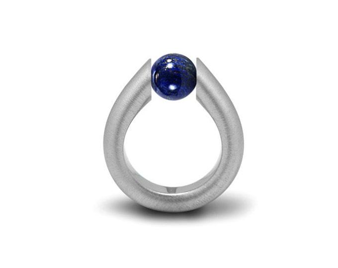 Modern Lapis Lazuli Tension Set Ring Stainless Steel