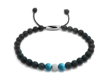 Layering Bead Bracelet 6mm Obsidian, Gold & Turquoise