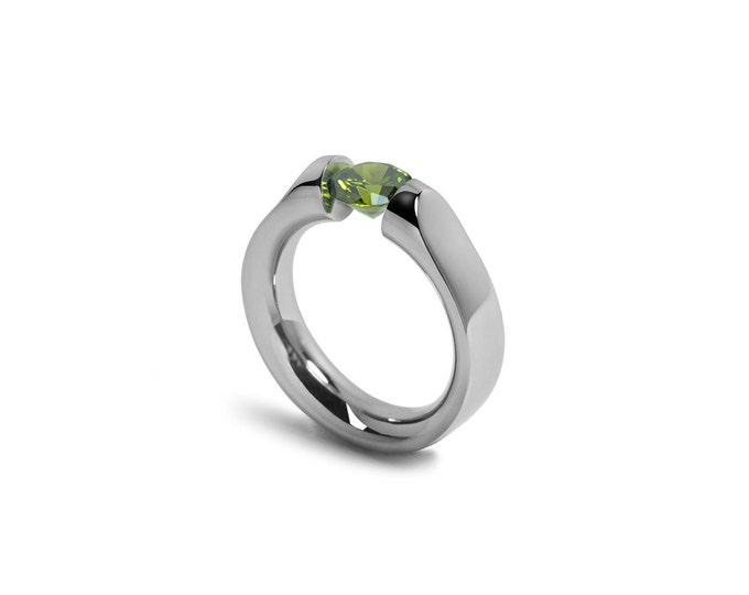 Peridot Topaz Tension Set Ring Stainless Steel