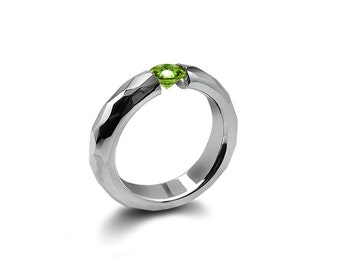 Peridot Tension Mens Ring Hammered Steel Mounting