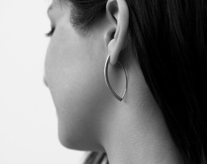 Earrings Long Curved in Stainless Steel Tubing