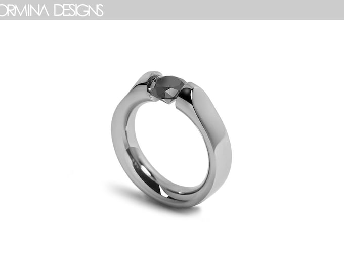 1ct Black Diamond Ring Tension Setting Stainless Steel Design