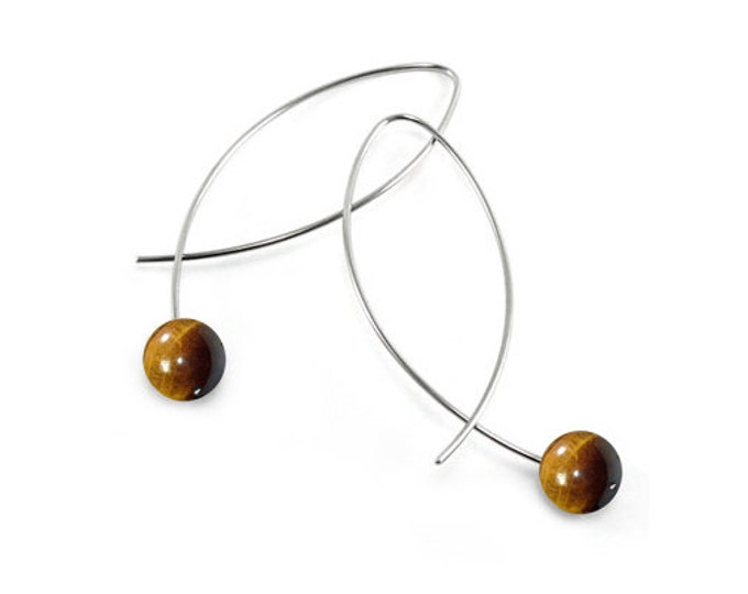 Black Tiger Eye Wire Earrings Design Stainless Steel