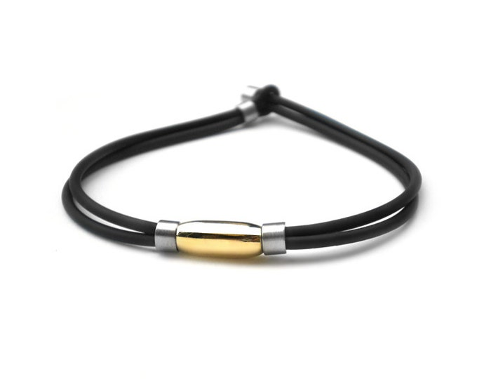 Two rows Rubber Bracelet with Stainless Steel and Gold Elements