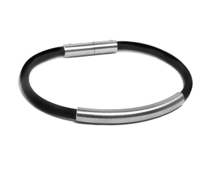 5mm Mens Black Rubber Bracelet with 6mm Stainless Steel Tube