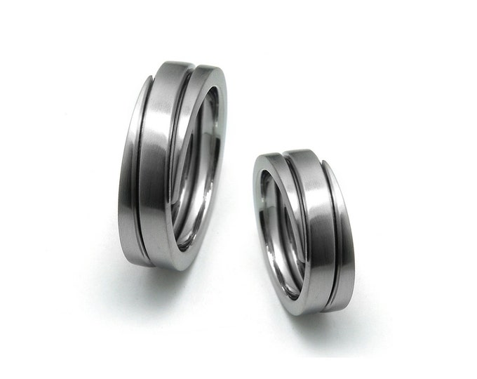 6mm Flat Swirl Wedding Band in Polished or Brushed Stainless Steel