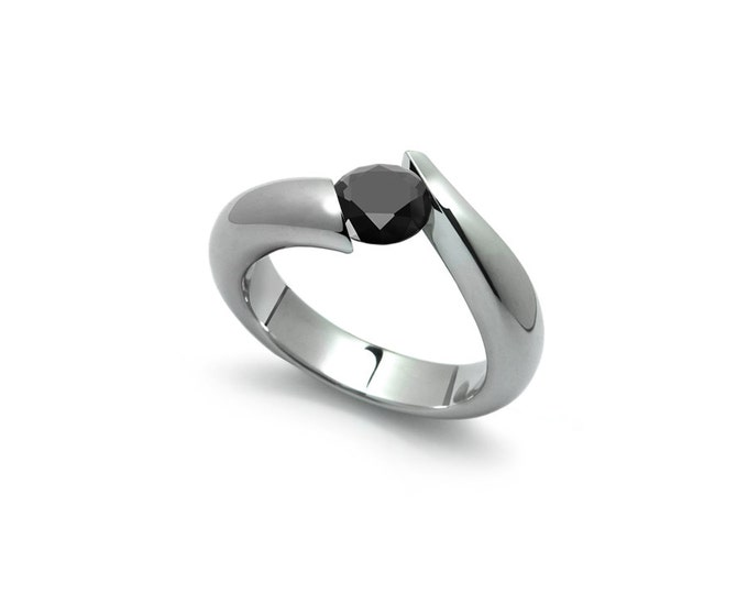 Black Onyx Tension Set Ring in Two Tone Stainless Steel