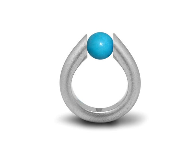 Turquoise Modern Tension Set Ring Stainless Steel