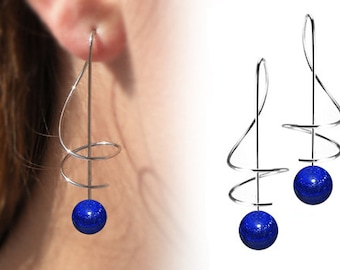 Taormina Lapis Lazuli Drop Earrings Stainless Steel Wire Music Key