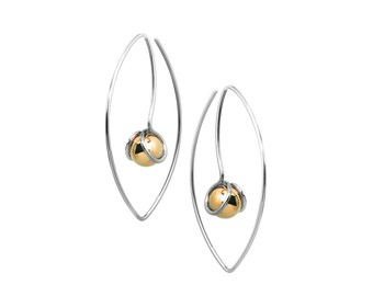 Stainless Steel Wire Earrings with Gold Spheres