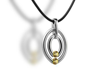 Yellow Sapphire Tension Set Double Circle Pendant