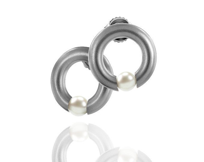 Modern White Pearl Tension Earrings in Stainless Steel